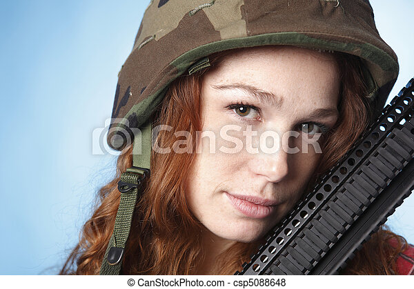 Young army woman - csp5088648
