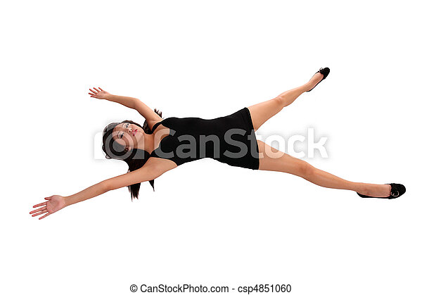 Young Asian American Woman arms and legs out - csp4851060