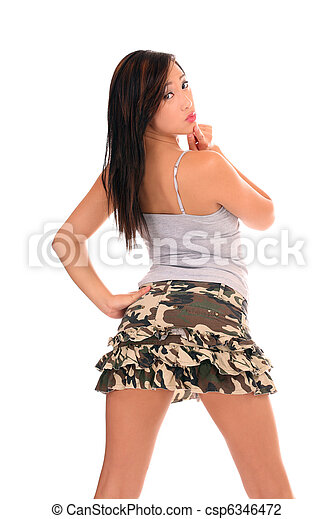 Young Asian American woman looking over shoulder - csp6346472