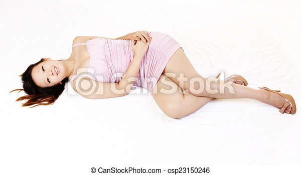 Young Asian American Woman Reclining Dress Pink - csp23150246
