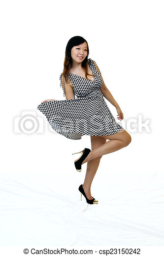 Young Asian American Woman Standing Dress Shoes - csp23150242