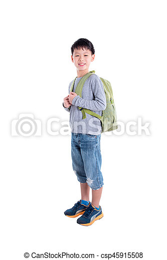 Young asian boy with backpack over white background - csp45915508
