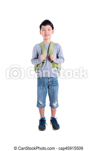 Young asian boy with backpack over white background - csp45915509