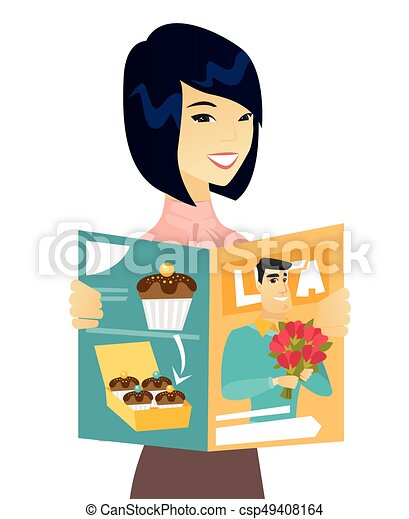 young asian business woman reading magazine successful clip art rh canstockphoto com business woman clip art free business woman clip art free
