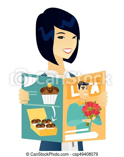 young asian business woman reading magazine successful vectors rh canstockphoto com businesswoman clipart free businesswoman clipart free