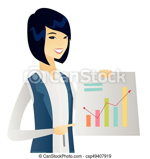young asian business woman showing financial chart asian vector rh canstockphoto com free clipart businesswoman business woman clip art free