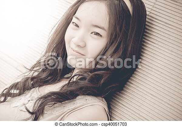 young asian chinese woman smiling - csp40051703