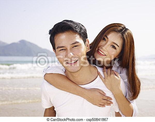 Asian wife having fun