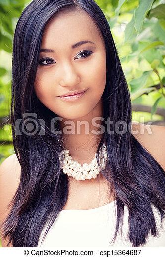 young asian woman beauty portrait - csp15364687