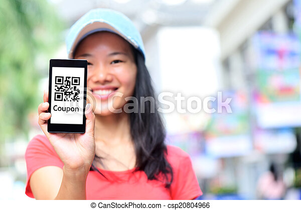 young asian woman hold smart phone - csp20804966