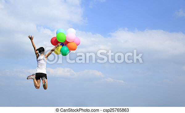 young asian woman jumping - csp25765863