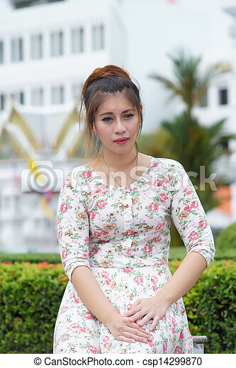 Young Asian woman outdoor portrait - csp14299870