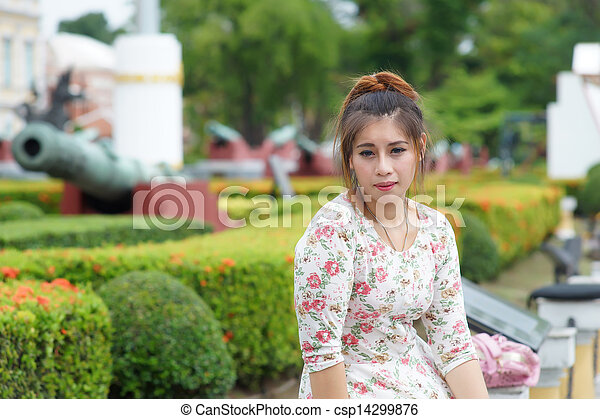 Young Asian woman outdoor portrait - csp14299876