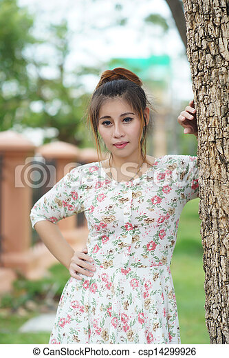 Young Asian woman outdoor portrait - csp14299926