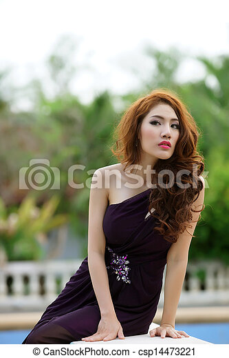 Young Asian woman outdoor portrait - csp14473221