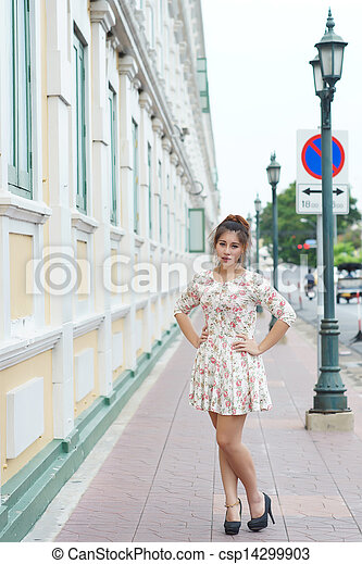 Young Asian woman outdoor portrait - csp14299903