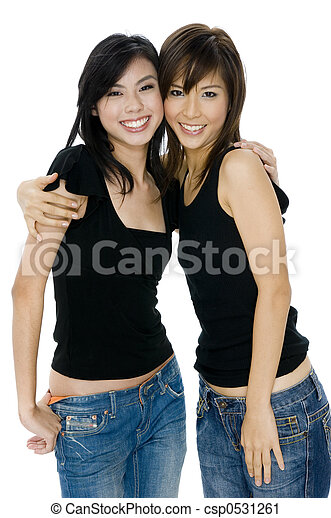 39462f4f475 Young asian women. Two young asian women in jeans and black top on ...