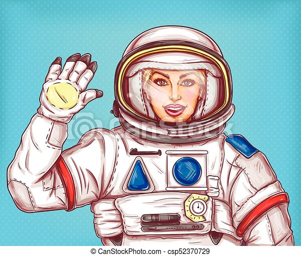 Young astronaut girl in a space suit waving her hand - csp52370729