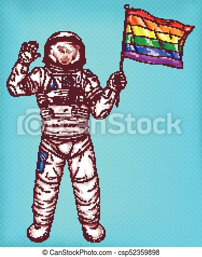 Young astronaut girl with rainbow flag - csp52359898