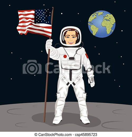 Young astronaut standing on the moon holding usa flag on the backround of earth - csp45895723