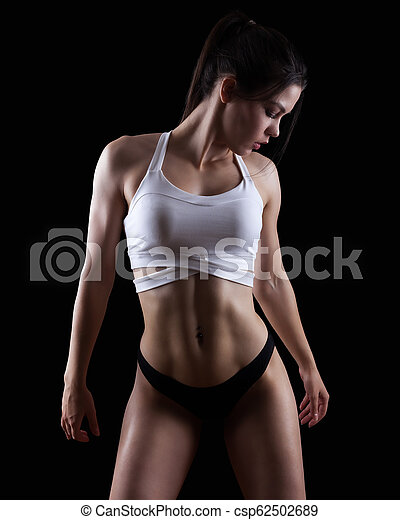 Young athletic, gym, fitness woman - csp62502689