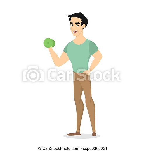 Young athletic man standing with green dumbbell - csp60368031
