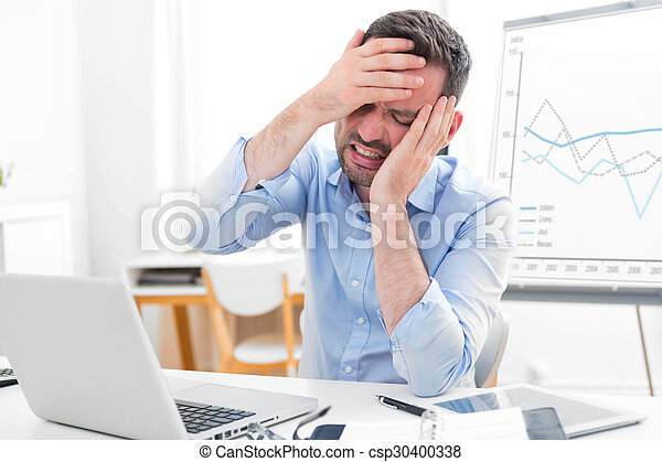 Young attractive business feeling pain because of burn out - csp30400338