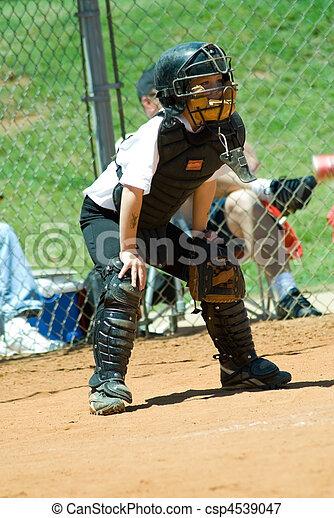 Young Baseball Catcher - csp4539047