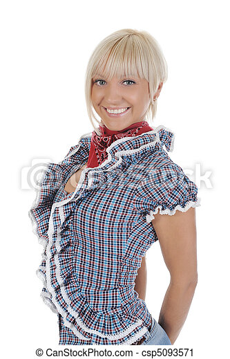Young beauti cowgirl. - csp5093571