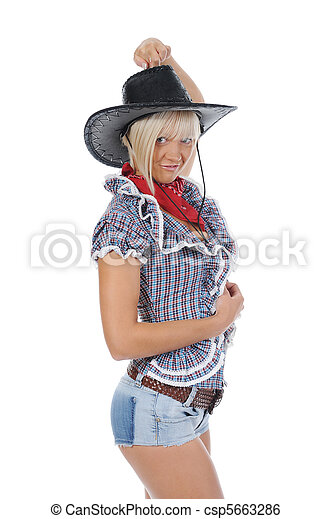 Young beauti cowgirl. - csp5663286