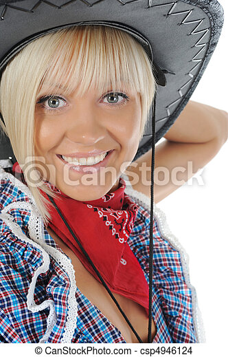 Young beauti cowgirl. - csp4946124