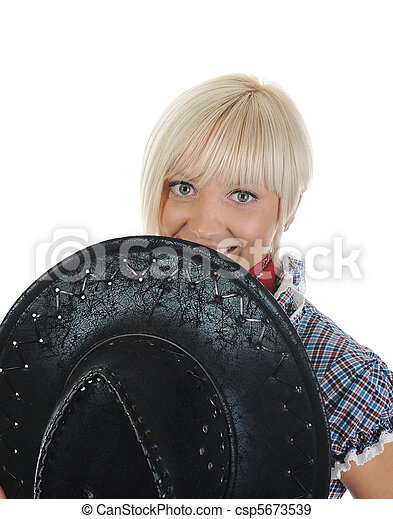 Young beauti cowgirl. - csp5673539
