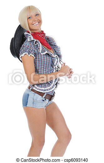 Young beauti cowgirl. - csp6093140