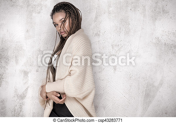 Young beautiful african american woman posing. - csp43283771