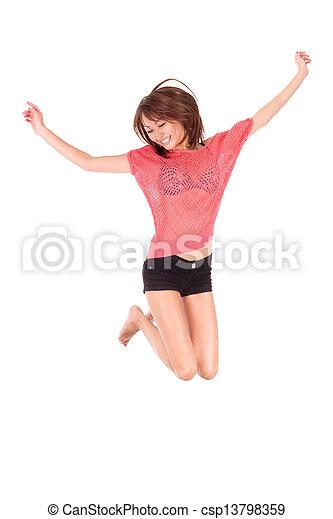 Young beautiful asian woman jumping of joy - Asian people - csp13798359