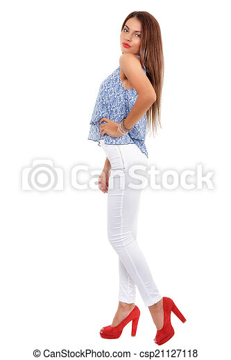 Young beautiful  brunette  stylish woman isolated on white backg - csp21127118