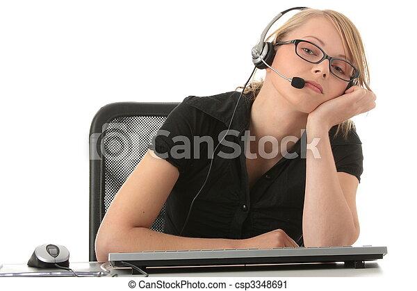 Young beautiful girl in headset - csp3348691