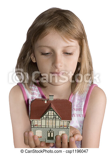 Young beautiful girl with house in hand - csp1196047