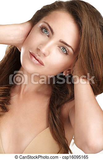 Young beautiful model showing her long red hair - csp16095165