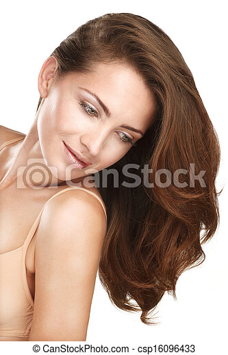 Young beautiful model showing her long red hair - csp16096433