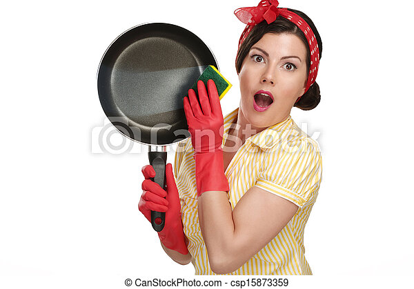 young beautiful woman housewife showing perfect washed dishes - csp15873359