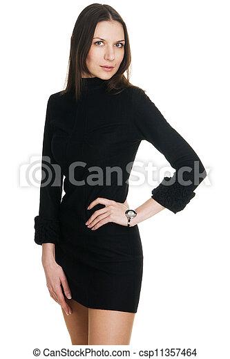 Young beautiful woman in black dress - csp11357464