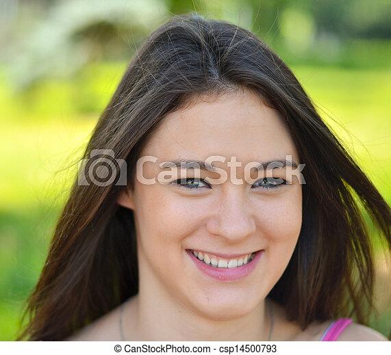 Young beautiful woman portrait smiling - csp14500793