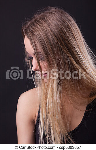 Young beauty blond girl in dream - csp5803857