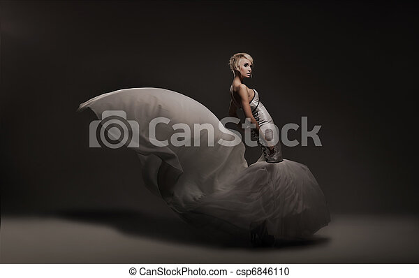 Young beauty woman wearing gorgeous dress - csp6846110