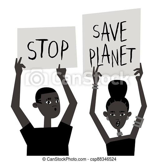 Young Black Character with Poster. Cartoon Style People and Ecology Protest Board. Isolated Person and Banner. Flat Illustration African American Face. Hand Drawn Vector Drawing - csp88346524
