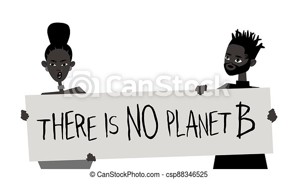 Young Black Character with Poster. Cartoon Style People and Ecology Protest Board. Isolated Person and Banner. Flat Illustration African American Face. Hand Drawn Vector Drawing - csp88346525