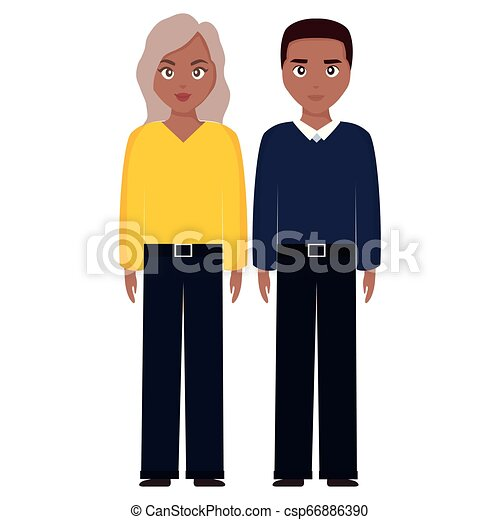 young black couple characters - csp66886390