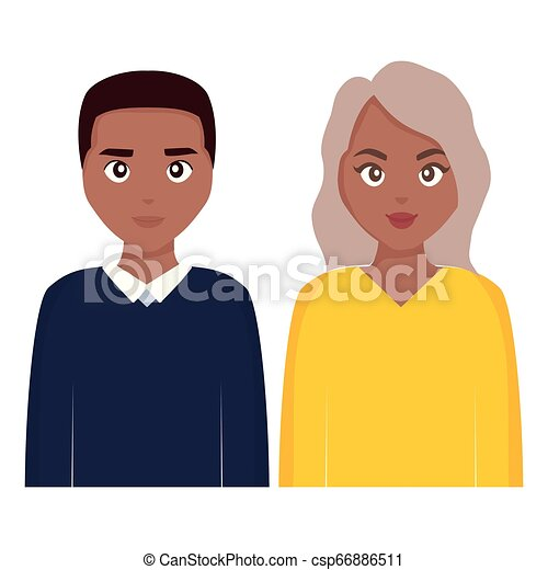 young black couple characters - csp66886511