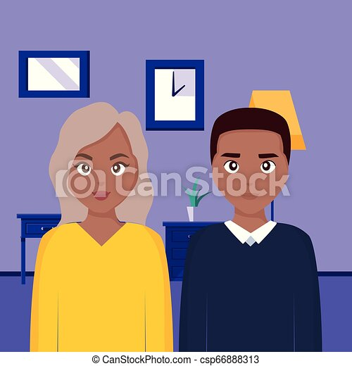 young black couple characters - csp66888313